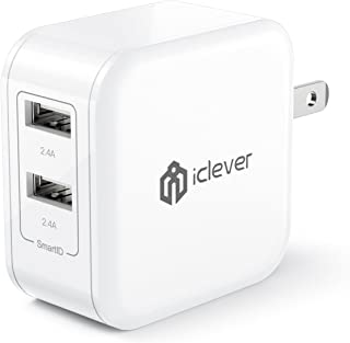 iClever BoostCube 24W Dual USB Wall Charger with SmartID Technology, Foldable Plug, Travel Power Adapter for iPhone Xs/XS Max/XR/X/8 Plus/8/7 Plus/7/6S/6 Plus, iPad Pro Air/Mini and Other Tablet