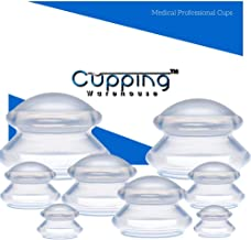 Cupping Warehouse TM Supreme DEEP PRO 6065 8 Cups (4 Sizes) Professional and Home Use: Clear Chinese Silicone Massage Cupping Therapy Sets Vacuum Suction Cups