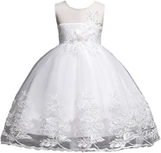 123723041342 1-12 Years Girls Dress Sequin Lace Wedding Party Flower Dress