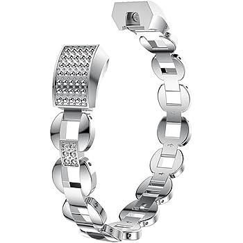 Aottom Kompatibel mit Edelstahl Armband Fitbit Alta HR Metall Band,Armband Fitbit Alta Edelstahl Frauen Armbänder Damen Metall Glitzer Ersatzband