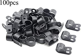 TOVOT 200 PCS Black Nylon Screw Wire Clips R-type Clip Cable Clamp Fasteners Tubing Clips 1/8 Inch (3 mm) for Wire Management
