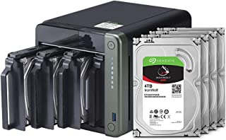 QNAP 4 Bay NAS with 12TB Storage Capacity, Preconfigured RAID 1 Seagate IronWolf Drives Bundle, 2.5GbE Ports (TS-453D-4G-4...