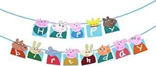 Party Propz Set of 1 Peppa Pig Happy Birthday Banner with 1 pc ribbon for Peppa Pig Birthday Decoration