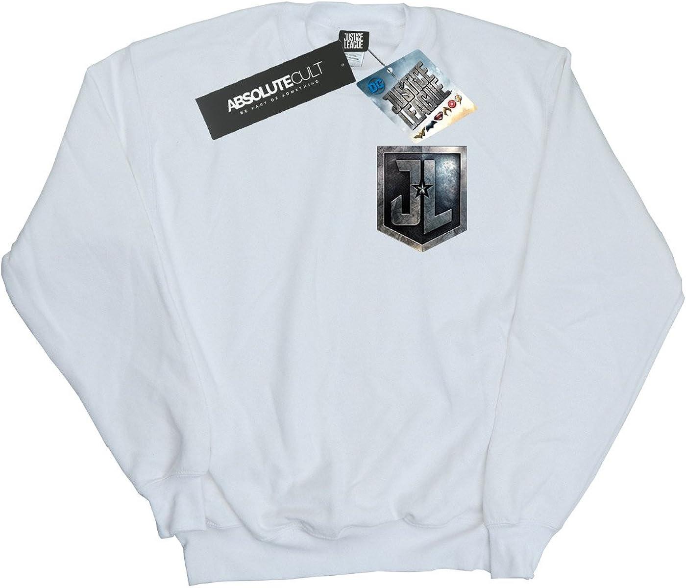 DC Comic Homme Justice League Movie Shield Faux Pocket Sweat-Shirt Blanc