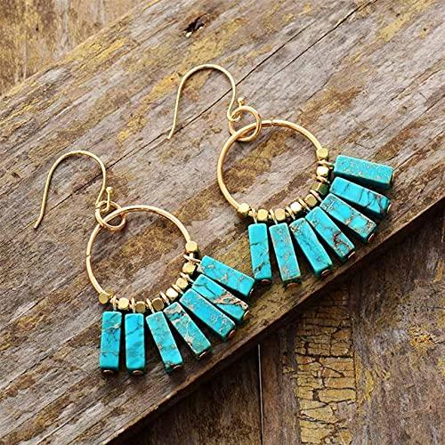 DFGDFG Pendiente Colorido Piedras Naturales Gold Color Beads Pendientes Diseñador Bohemio Mujeres Drop Pendientes Regalos (Metal Color : Turquoise)