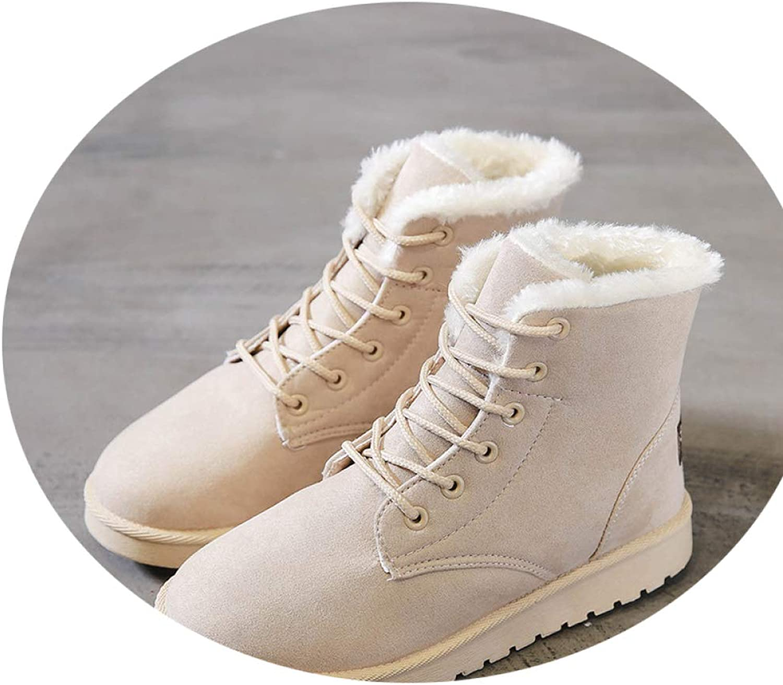 Street Martin Boots, Women's Flat Casual Solid color Women's shoes, Plus Velvet Warm Cotton shoes, Short Tube Snow Boots