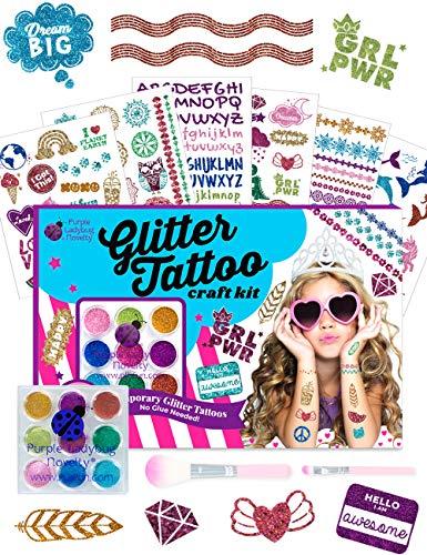 Purple Ladybug 175 Tatuaggi per Bambini con 9 Glitter Colorati – Stupendo Gioco per Bambine – Include Sirene, Unicorni e Tanto Altro – Kit Tatuaggi Adesivi, Senza Colla e Senza Stencil