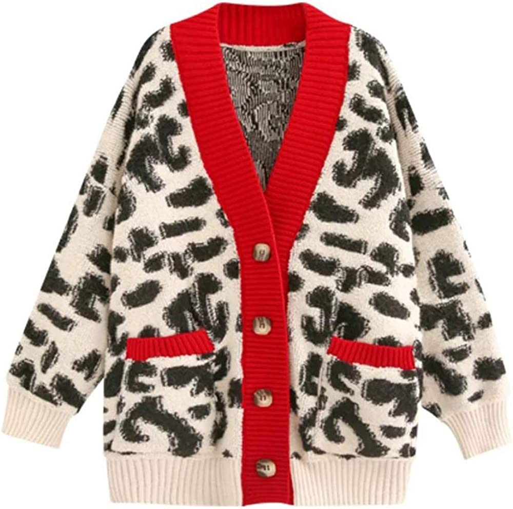 JASCLS Women's Long Sleeves Leopard Print Knitting Cardigan Open Front Thick Sweater Outwear Coats with Pocket