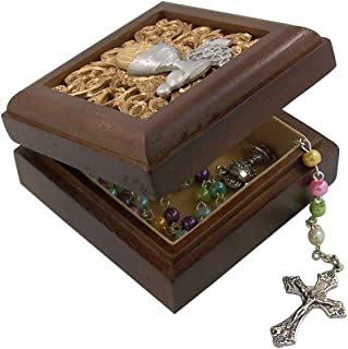 Walnut First Communion Chalice Wooden Keepsake Rosary or Trinket Box, 2 3/4 Inch