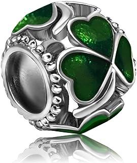 JMQJewelry Heart Clover Love Charm Green Purple Beads Charms Bracelets Women