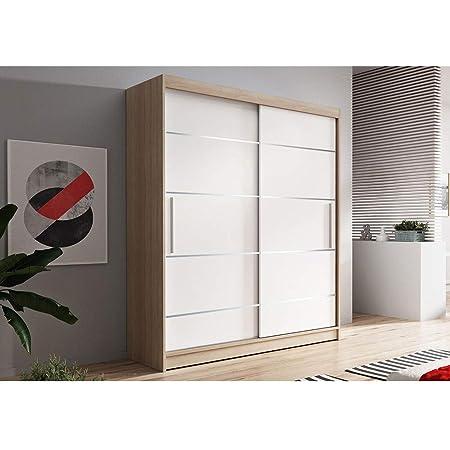 E-MEUBLES Armoire de Chambre avec 2 Portes coulissantes + eléments décoratif en aliminium   Penderie (Tringle) avec étagères (LxHxP): 150x200x61 LARA 06 (Sonoma + Blanc)