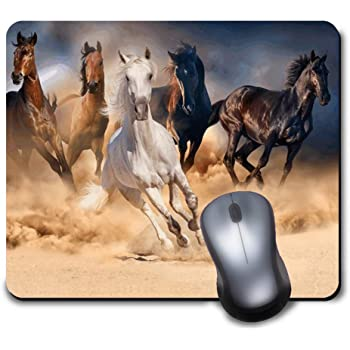 Black Orange Rectangle Non-Slip Rubber Mousepad Ambesonne Horses Mouse Pad Standard Size Portrait of Galloping Friesian Horse with Hot Sun Rays Intensity Honor Grace Theme
