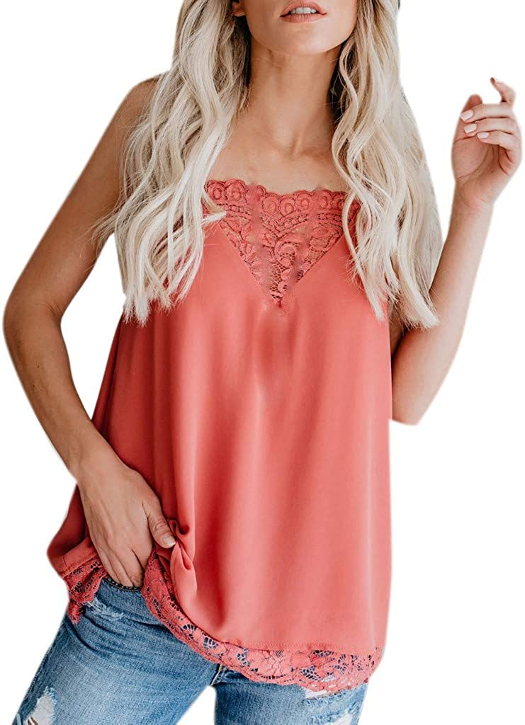 Camisole Tank, Womens Silk Satin Strappy Tops Plain Sleeveless Vest Top Casual V-Neck Blouse