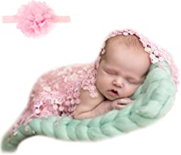 Sunmig Newborn Baby Photo Props Floral Lace Layers Photography Tassel Wrap Scarf (Pink)