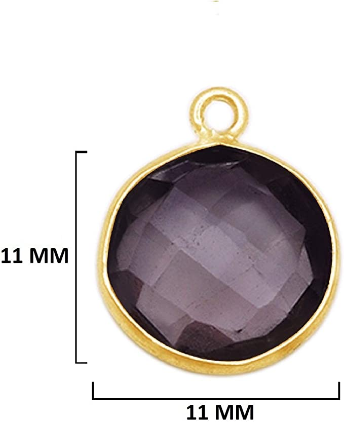 Crystal Quartz Gold Plated Sterling Silver Bezel Station Connector and Charm 1 piece