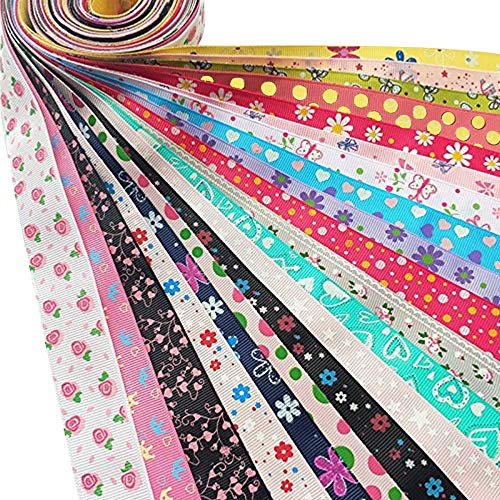 Dandan DIY Assorted 20 Yards Grosgrain Ribbon Bow Daisy Butterfly Cake Love Heart Dots Flower Rose Smile Face Craft DIY Gift Packing Hair Bow Accessory