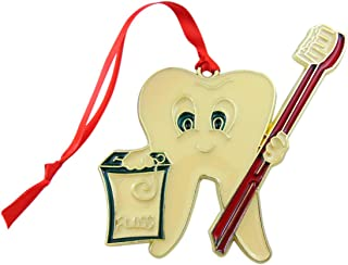 Westmon Works Dentist Ornament Tooth with Toothbrush Dental Christmas Decoration, 4 Inch