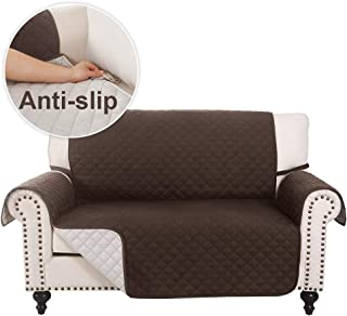 Rose Home Fashion RHF Sofa Slipcover Anti-Slip Loveseat Cover Water Resistant Couch Cover Furniture Protector with Straps for Pets Kids Children Dog Cat, Love Seat Covers(Loveseat: Chocolate/Beige)