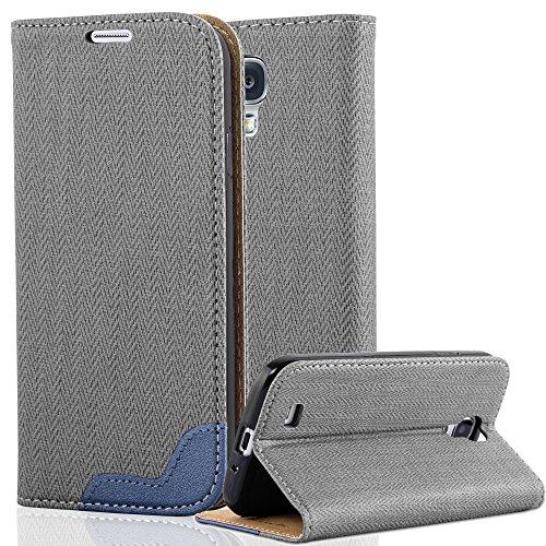 Cadorabo Samsung Galaxy S4 Funda de Cuero Sintético RAFIA en GRIS AZUL...