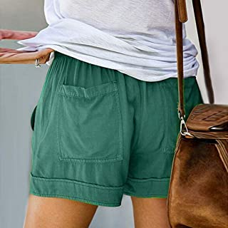 Summer Ladies Shorts Loose Casual Womanss Comfy Drawstring Splice Elastic Waist Pocketed