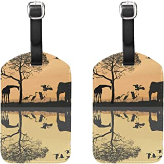 MASSIKOA Savana Giraffes Herons and Elephant Cruise Luggage Tags Suitcase Labels Bag,2 Pack