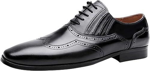Santimon Homme Chaussures Mode Cuir Oxford Derby Lacets Habillé Chaussures De Mariage Noir