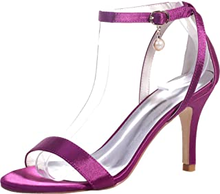 Vimedea Womens Ankle Strap Heeled Sandals Wedding Bride Open Toe Satin 9920-04