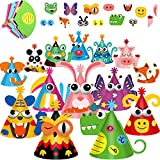 14 Pieces Party Cone Hats Kit DIY Party Hats Birthday Party Craft Art Kit Colorful Girls Boys Animal Party Game Supplies Thanksgiving, Spring Break, New Year, Christmas, Fiesta Decorations