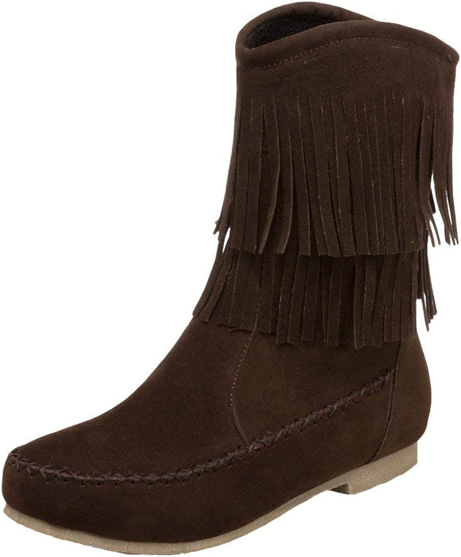 Lelehwhge Women's Round Toe Low Heel Tassels Snow Boots Dark Yellow 8 M US