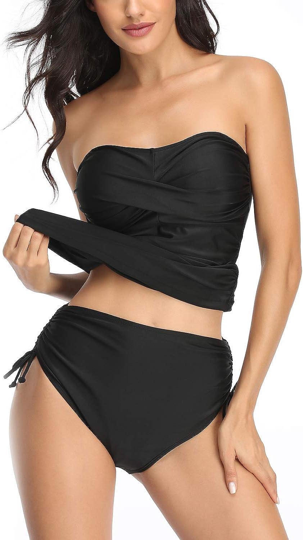 Smismivo Strapless Tankini Swimsuits for Women 2 Piece Bandeau Tummy Control Bathing Suit Sexy Push Up Tube Top Swimwear