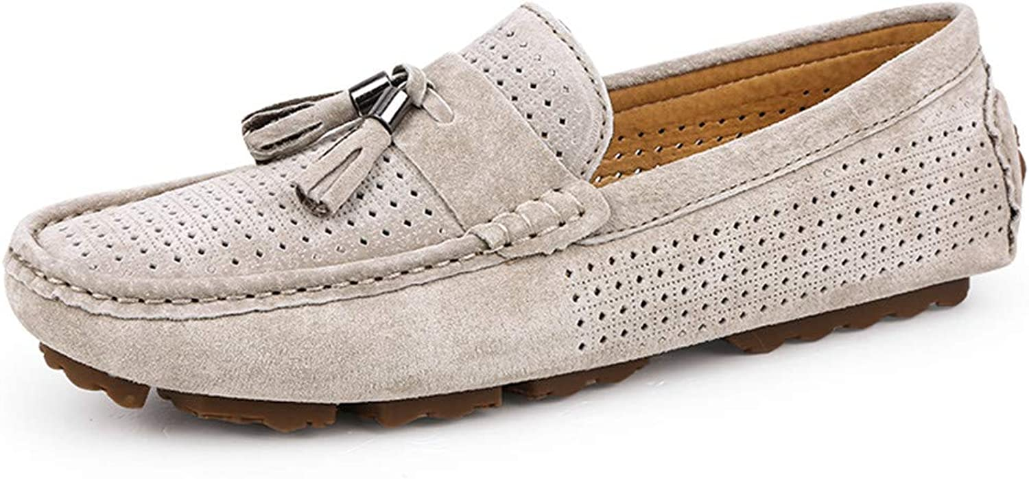 Easy Go Shopping Men's Drive Loafers For Casual Suede British Tassel Fashion Breathable Boat Moccasins Cricket shoes (color   Hollow khaki, Size   9 UK)