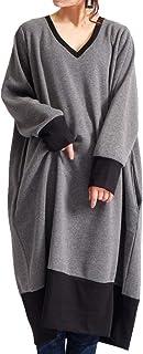 [ゴールドジャパン] 大きいサイズ レディース ワンピース Vネック バイカラー 裏起毛 コクーン 膝丈 長袖 ポケット トレーナー ロング