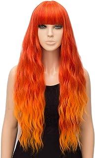netgo Organge Fire Wig for Women Long Wavy Heat Resistant Fiber Wigs Side Bangs Cosplay Party