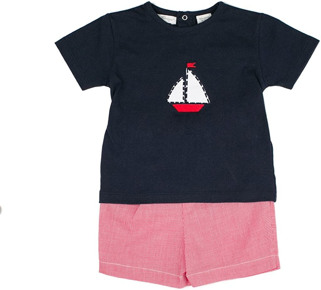 Carriage Boutique Baby Boy Navy/Red 2 Piece Shorts Set - Sailboat Scene