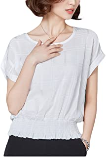 Thx Style 女式休闲办公室衬衫短袖上衣雪纺衬衫低圆领