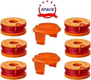 HOUSESTYLE String Trimmer Replacement Spools for Worx wa0010 String Trimmers(6 spools, 2 Cap)