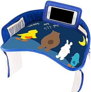 qingqingxiaowu Mesa para Niños Asiento Coche Mesa Niños Coche Bandeja de Viaje Snack and Play Snack and Play Bandeja de Viaje con Tapa de borrado en seco Dark&Blue