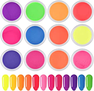Ownest 12 Colors Neon Phosphor Nail Powder, Glitters Glow in the Dark Night Fluorescence Pigment Decor Nail Beauty Tool, Ultrafine Luminous Nail Art Dust