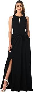 eShakti FX Pleated Cotton Jersey Knit Maxi Dress - Customizable Neckline, Sleeve & Length
