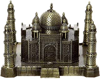 PROW 3D Metal Indian Taj Mahal Handicrafts Art Statue Building Model for Desktop Decor Cake Topper Gifts Party Cafe Display Home Decoration,Bronze