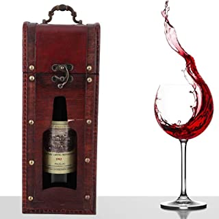 Caja de Vino de Madera, Caja de Regalo de Paquete de Vino de Titular de Vino Vintage con Mango para Boda