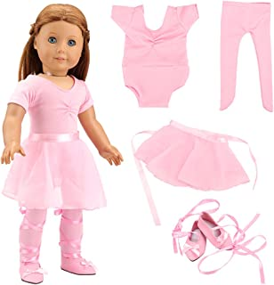 BARWA 18 Inch Doll Clothes Ballet Ballerina Outfits Dance Dress Custume Compatible with 18 Inch Dolls - 4 PCS Pink Leotard with Tutu Skirt, Tights and Ballet Shoes