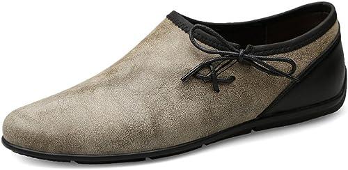 CHENDX Chaussures, Décontracté Personnalité Tendance Mocassins Homme Petites Chaussures Dénudées Restaurer des Mocassins Doux en Bateau (Couleur   Kaki, Taille   38 EU)