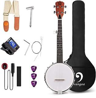 Vangoa 5 String Banjo MINI, Closed Solid Back with beginner Kit, Tuner, Strap, Pick-up, Extra Strings, Picks Allen Key, Bracket Wrench and Bag