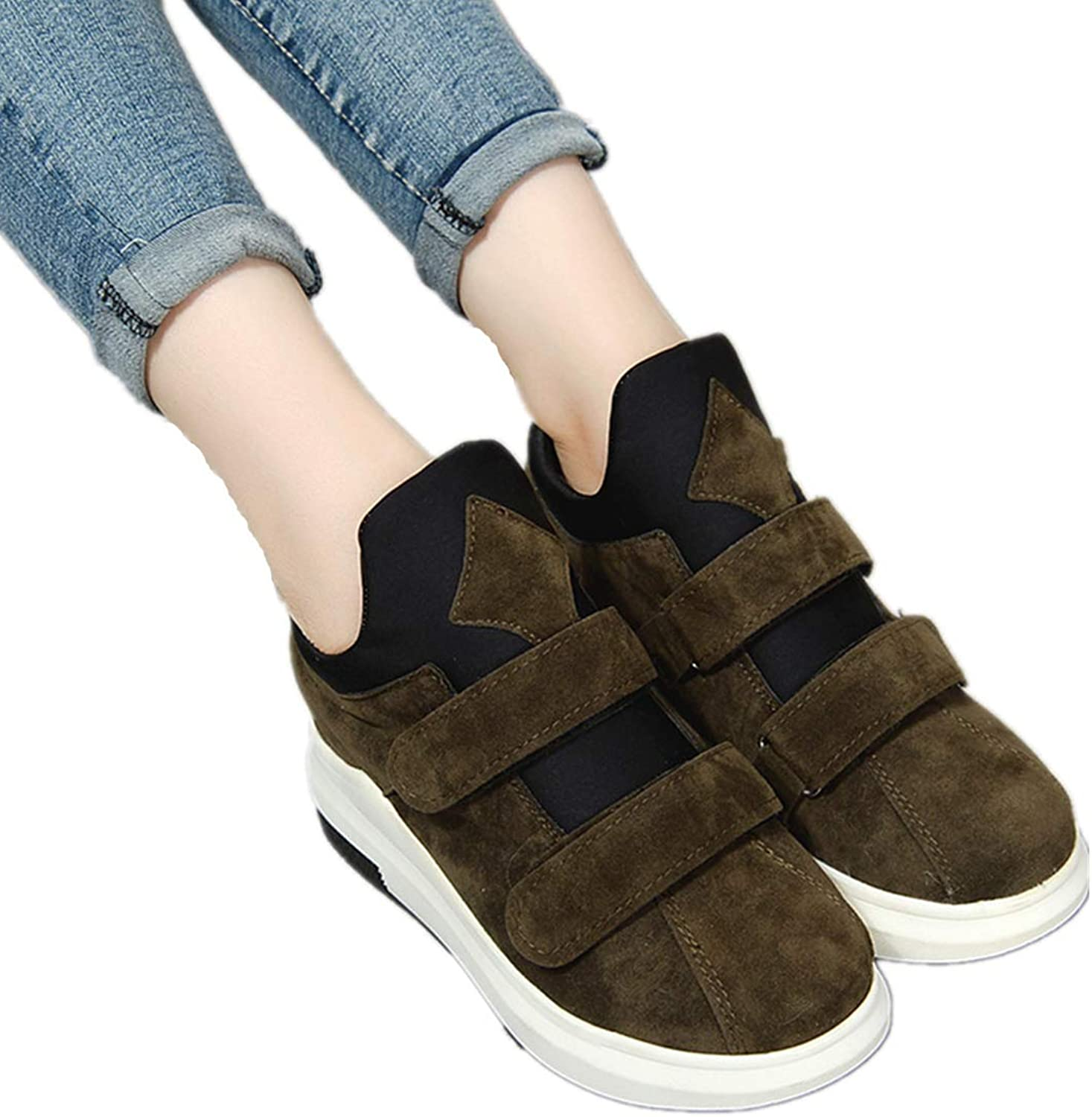 Women Casual Wedge Sneaker Comfortable Hidden Heel Walking shoes Increased Height Fashion High-top shoes