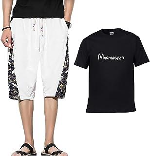 メンズ セットアップ 半袖 短パン 上下セット ルームウェア 部屋着 綿麻 ハーフパンツ 綿100%Tシャツ ジャージ P1083