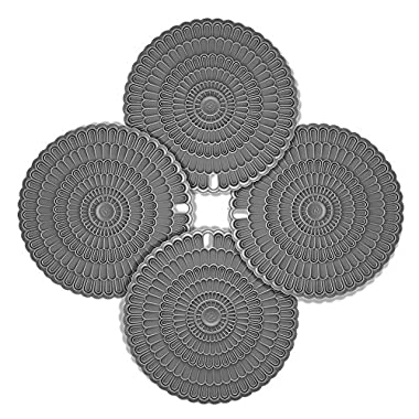 4pcs Hot Pad Trivet Gray, Zanmini for Hot Dishes,Insulation, Durable, Flexible Hot Pads,Pot Holders, Spoon Rest, Jar Opener