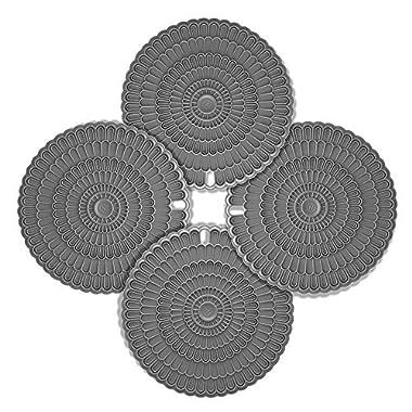 4pcs Hot Pad Trivet Gray, Zanmini for Hot Dishes,Insulation, Durable, Flexible Hot Pads,Pot Holders, Spoon Rest, Jar Opener
