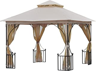 Outsunny 10' x 10' Steel Outdoor Garden Gazebo Canopy with Mesh Netting Walls & a Roof Resistant to UV Rays