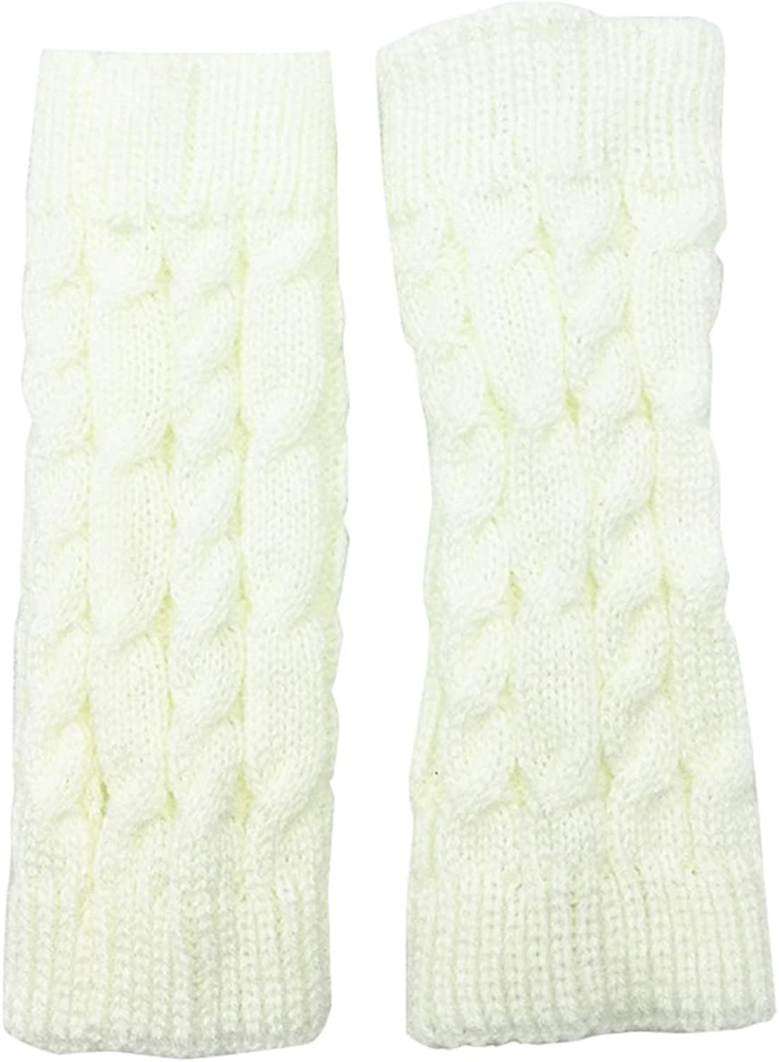 Women Winter Cold Weather Solid Cable Knit Fingerless Gloves